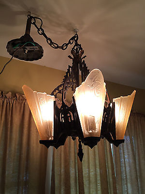 Vintage (1930's) Gothic-Art Deco Bronze Slip Shade Chandelier, 5 light, Restored