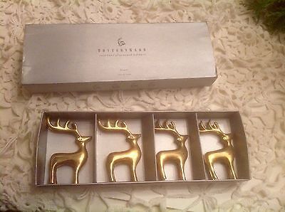 LOVELY Pottery Barn Brass Reindeer Place Card Holders 1 set of 4~IN ORIGINAL BOX