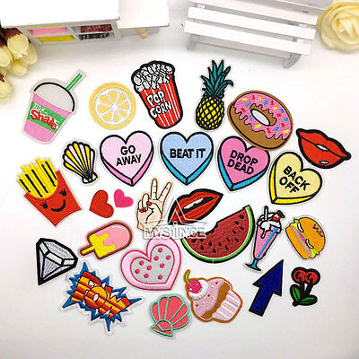 DIY Embroidered Sew On / Iron On Patches Badge Bag Dress Fabric Applique Craft