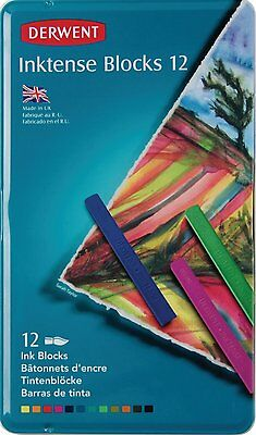 Derwent Inktense Ink Blocks Metal Tin 12-Pack