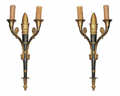 Pair Antique French Empire Style Torch Form Gilt Bronze Sconces