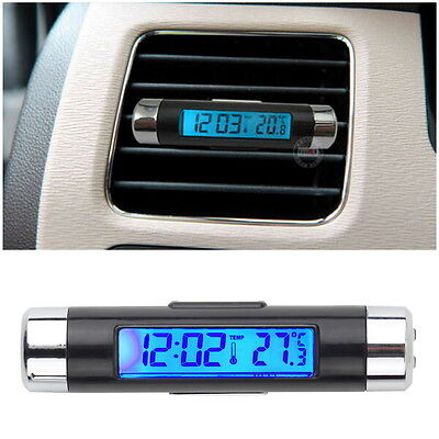 Car LCD Clip-on Digital Backlight Automotive Thermometer Clock Calendar FG