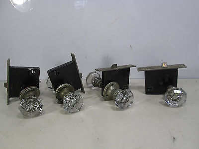 4 Vintage Russwin Sets of Flat Facet Glass Door Knobs and Lock Sets #3