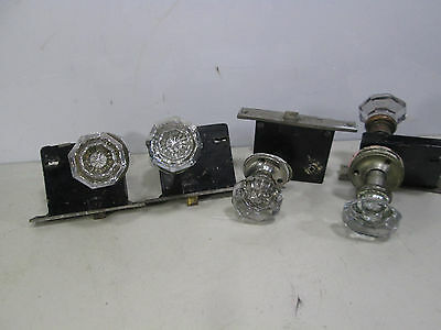 4 Vintage Russwin Sets of Flat Facet Glass Door Knobs and Lock Sets #1