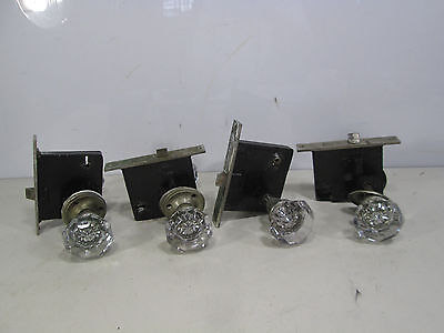 4 Vintage Russwin Sets of Flat Facet Glass Door Knobs and Lock Sets #2