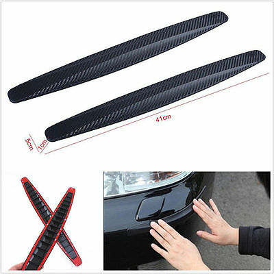 2x Black Carbon Fiber Texture Anti-rub Protector Car SUV Bumper Edge Guard Strip