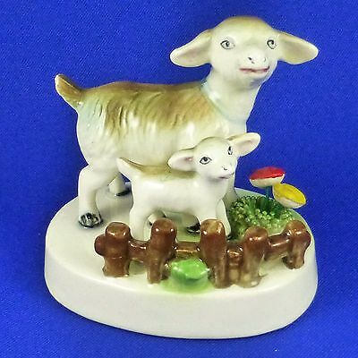 "Vintage Mama Goat & Baby Kid Porcelain Figurine Fence ""Spaghetti"" Grass Flowers"