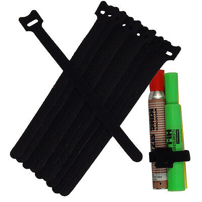 NEW 10PCS 20CM Cable Cord Ties Straps Wrap Hook And Loop Black Portable LO