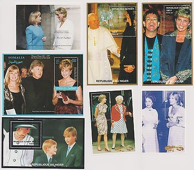 Princess Diana of Wales 7 Souvenir Sheets With Celebrities All Unused  |