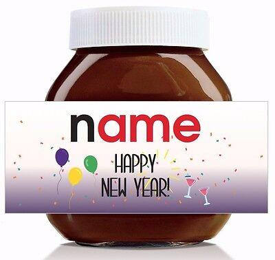 Nutella Labels! - 3 x Personalised 'Happy New Year' Labels for 750g Jar!