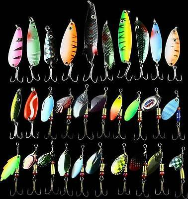Lot 30pcs Fishing Lures Spinner Baits Crankbait Assorted Fish Tackle Hooks IM