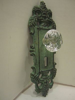 Cast Iron decorative door knob acrylic glass knob pull green antique finish