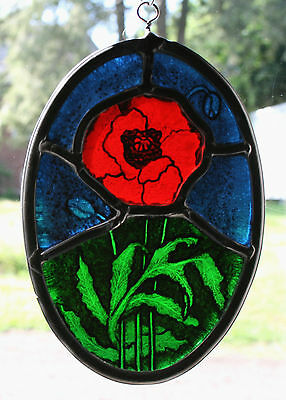 Stained Glass,Hand Painted,Kiln Fired, Red Poppy Flower Panel, 1100 A