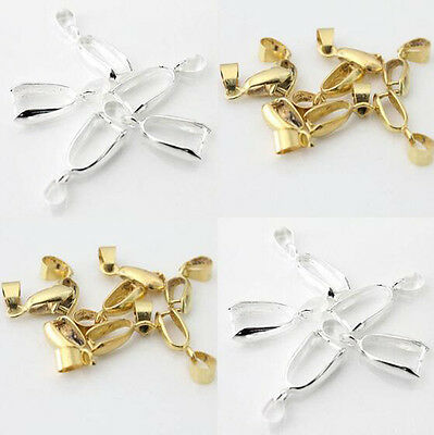 20mm Silver/Gold Plated Pinch Clip Connectors Bails Jewelry Findings 10/50Pcs