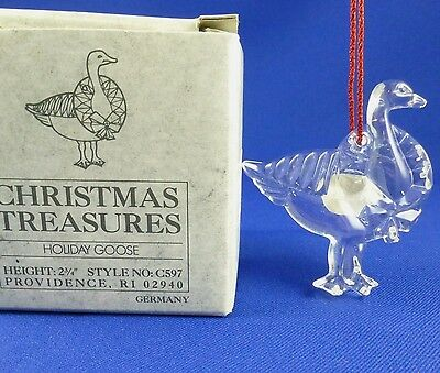 Vintage Gorham Christmas Treasures Crystal Holiday Goose Ornament Germany
