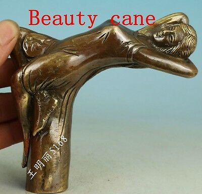 Chinese Old Bronze Handmade Carved belle Collect Statue Walking Stick