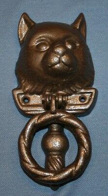 Vtg Cast Iron Cat Door Knocker Feline Head Decoration Decorative