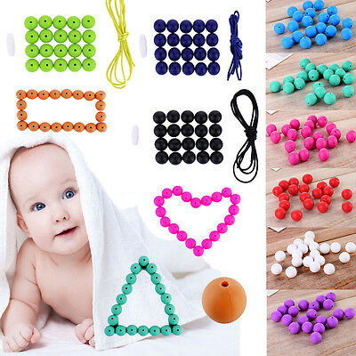 BPA Free Baby Silicone Teething Necklace Cute Nursing Teether Round Beads Chain