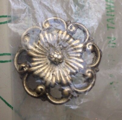 "Antique Reproduction 1 1/2"" Victorian Floral Cast Brass Drawer Pull / Knob"