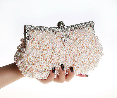 Fashion Pearl Clutch Evening Bag Handbag Purse Bridal Wedding Party Beaded Prom