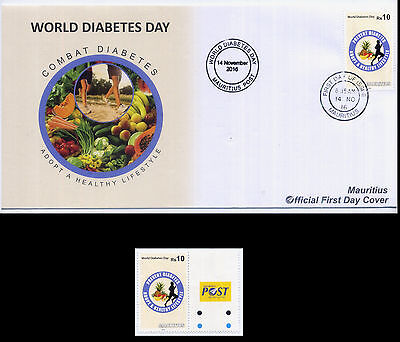 Mauritius World Diabetes Day FDC and Rs10 Stamp MNH (Latest Issue 14 Nov 2016)