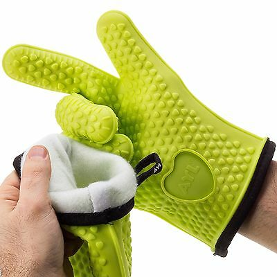 AYL XL/XXL Silicone Cooking Gloves - Heat Resistant Oven Mitt for Grilling, B...
