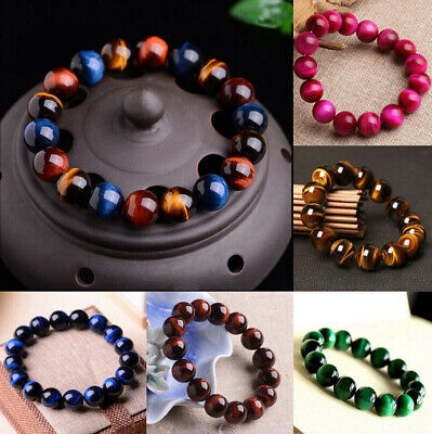 100% AAA+ Natural Gemstone Tigers Eye Stone Beads Man Woman Jewelry Bracelet