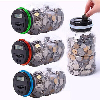 Digital Coin Saving Money Box Jar Automatic Electronic Counting Piggy Bank New