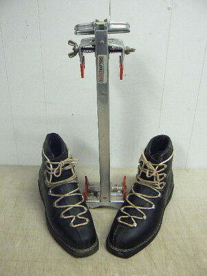 Vintage Grenoble Fit Sport Competition Leather Ski Boots w/Barrecrafters Carrier