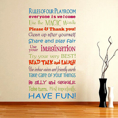 Removable Playroom Rules Word Vinyl Wall Sticker Family Window Kids Room Decor