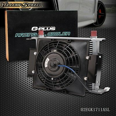 """UK 28 Row 10AN Universal Engine Transmission Oil Cooler+7"""" Electric Cooling Fan"""