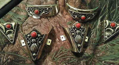 Western Cowboy Boot Tip,Heel Guard sterling slver plated,collar tips coral stone
