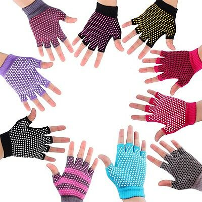 Breathable Sweat-Absorbent Yoga Fingerless Non-slip Exercise Grip Gloves LE