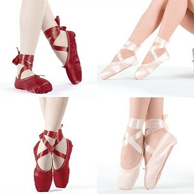 Hot Child Ladies Ballet Pointe Dancing Shoes Professional With Ribbons LE