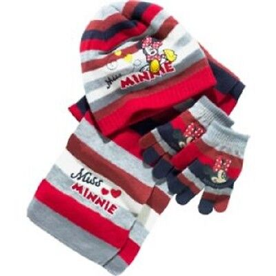 Disney Minnie Mouse::gorgeous Hat/scarf Gloves Set,new With Tags