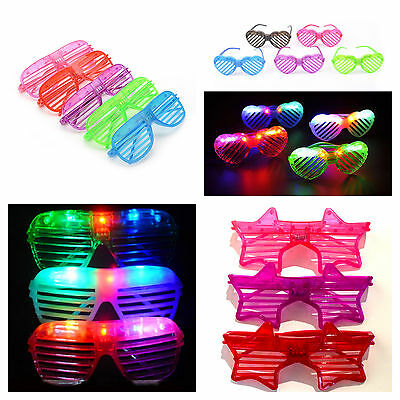 LED flashing glasses retro shutter slotted adults kids party rave various option