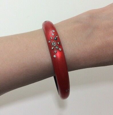 Alexis Bittar Bright Red Smoky Dust Skinny Tapered Bangle Bracelet