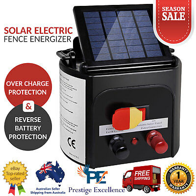 5km Solar Power Electric Fence Energiser Power Chargers Cable 0.15J Farm Fencing