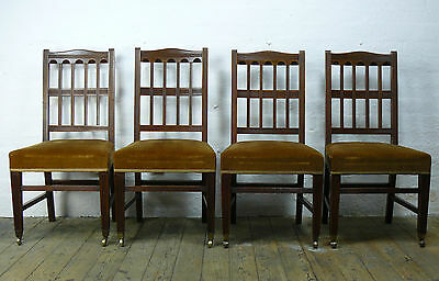 Set Of Four Handsome High Backed English Edwardian Chairs In Very Good Order