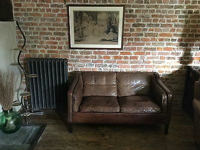 leather mogenson style 2 seater leather settee