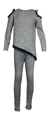 Girls Childrens Kids pompom Top with Bottoms Two piece Sets Knitted Jogging suit