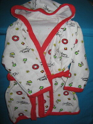 Baby bath robe dressing gown soft terry towelling 9/12 months New Vintage