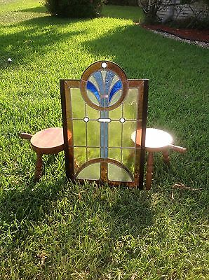 Vintage Art Deco Stained Glass~ Rectangular with Centered Deco Accented Circle