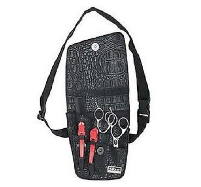 Sibel TRIO Hairdressing Barbering Scissor POUCH Holder - BLACK CROCODILE EFFECT