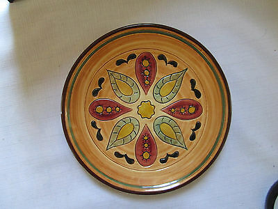 Signed Pennsbury Colorful Folk Pottery Hex Sign Design Pie Plate NICE CONDITION!