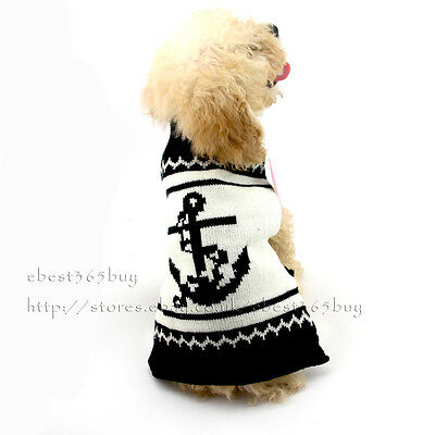 Anchor Knitted Dog Jumper Sweater For Small Medium Dogs Knitwear Pet Cat Clothes