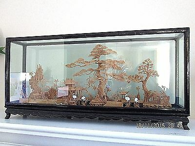 Old Vintage Chinese Hand Carved Cork Art 4 Cranes 2 Ducks Wood Glass Box Pagoda