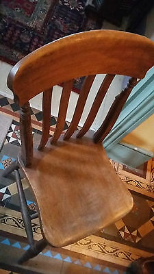 ANTIQUE WOODEN DINING CHAIR 100 YRS OLD LOVELY COLOUR AND FINISH AND COMFY 1of 2