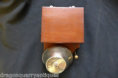 Very Large Quality Restored Antique Wood & Brass Electric Door bell 6-12 volts