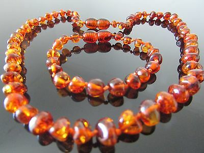 GENUINE CHILD  AMBER BRACELET/ ANKLET & NECKLACE SET COGNAC (bracelets 14-18 cm)